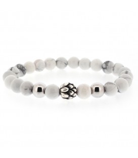 HOWLITE POWER BRACELET WITH SILVER LOTUS