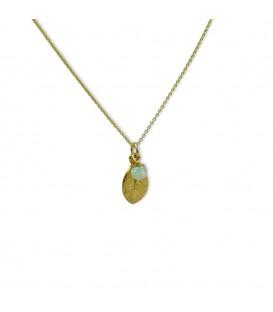Delicate Leaf Necklace Hellblau