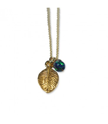 Delicate Leaf Necklace Blau