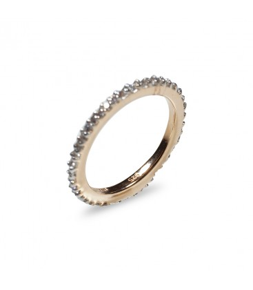 Diamond Band Engagement Ring 14k Rose Gold