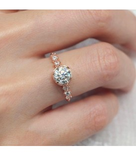 Engagement Ring Mossanite 14Ct Rose Gold