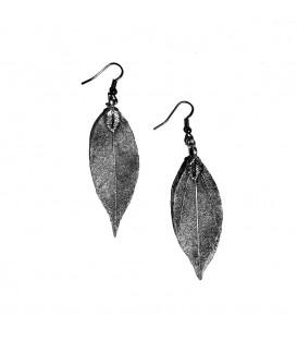 Blätter Ohrringe Schwarz Silber