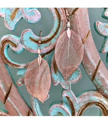 Ohrringe Blätter Rosé Gold