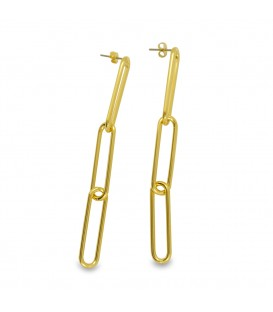 Three Chain Links Earrings Gold