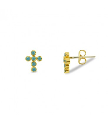Cross Earrings Turquoise