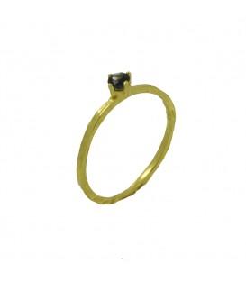 Black diamond Verlobungsring Gold