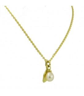 Sapir Perle Kette Gold mit Blättchenanänger